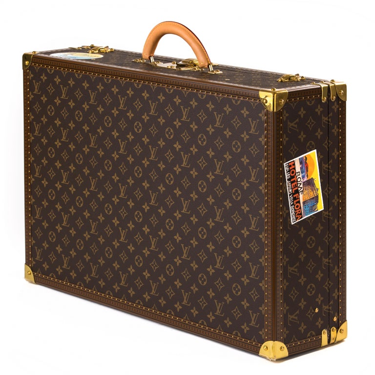 French Louis Vuitton Bisten Suitcase 65 Monogram with Stickers For Sale