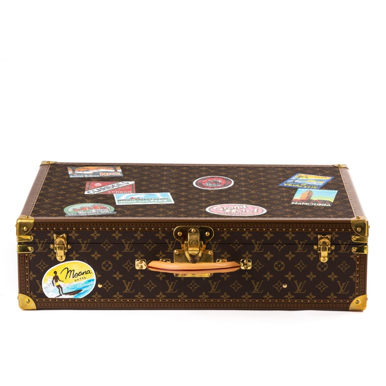 Contemporary Louis Vuitton Bisten Suitcase 65 Monogram with Stickers For Sale