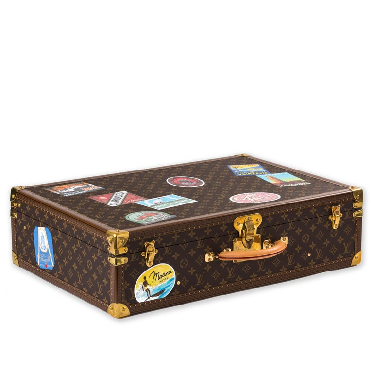 Metal Louis Vuitton Bisten Suitcase 65 Monogram with Stickers For Sale
