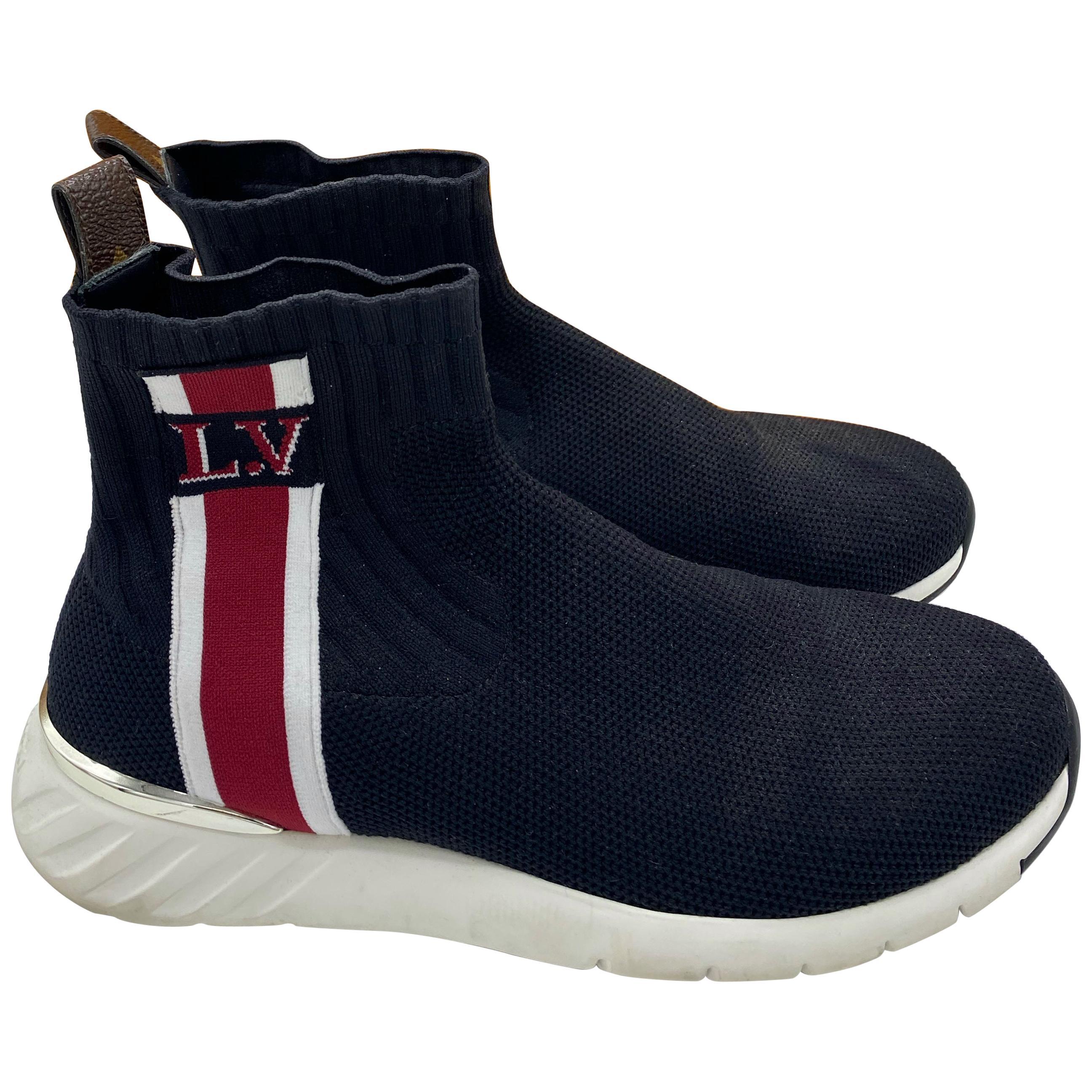 LOUIS VUITTON Black Aftergame Sock Sneaker Boots, Size 39
