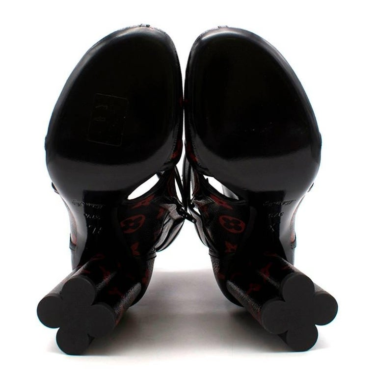 dba92a880c37a Louis Vuitton Black and Red Monogram Logomania Boots In Good Condition For Sale  In London