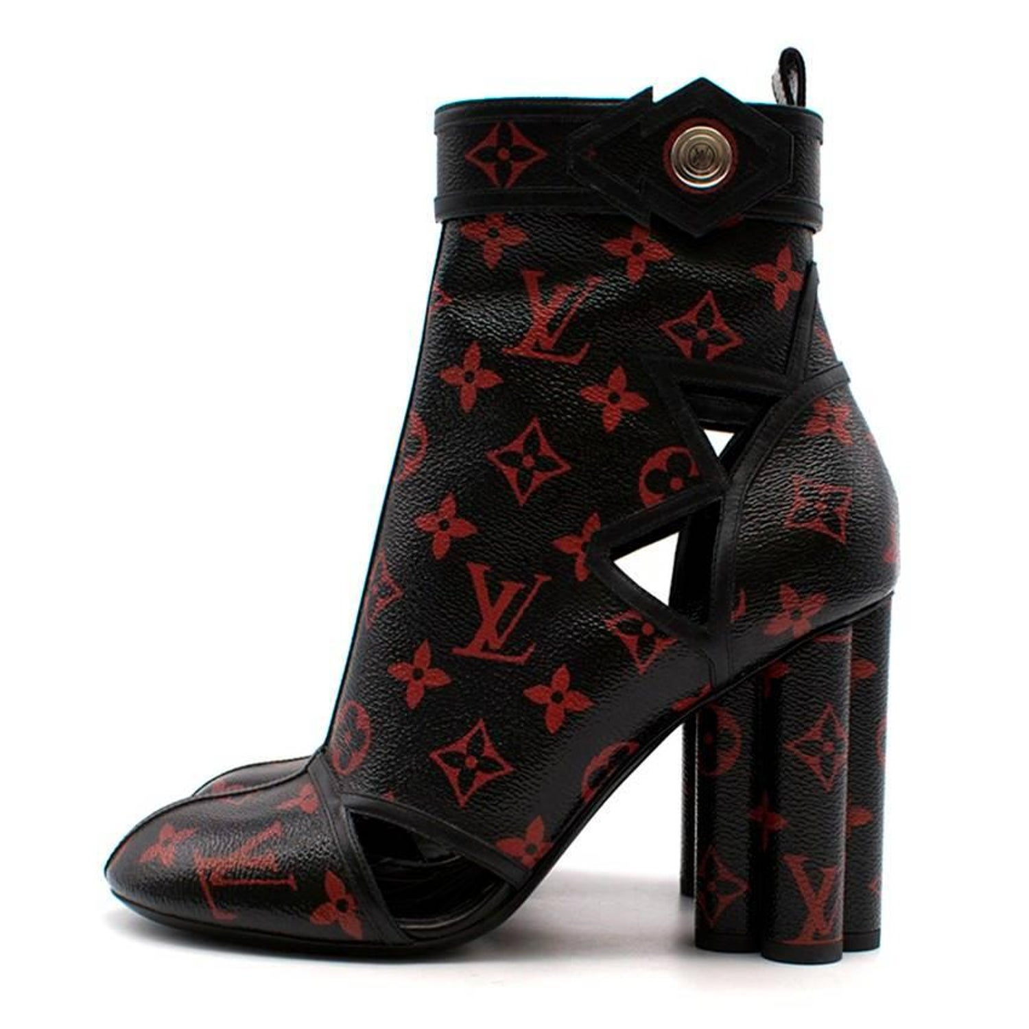 ecd8510b0e874 Louis Vuitton Black and Red Monogram Logomania Boots For Sale at 1stdibs