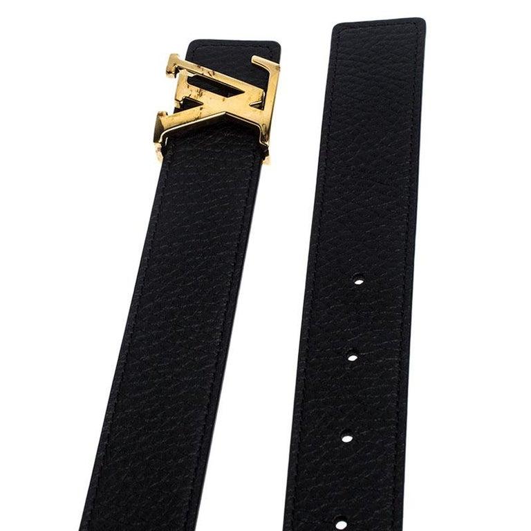 Women's Louis Vuitton Black/Brown Leather Reversible Initiales Belt For Sale