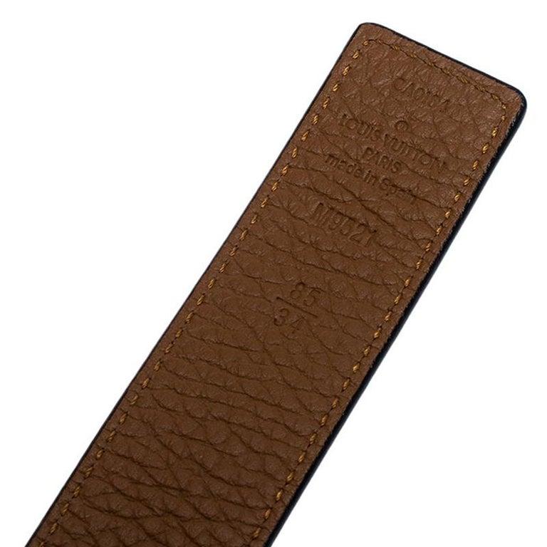 Louis Vuitton Black/Brown Leather Reversible Initiales Belt For Sale 1