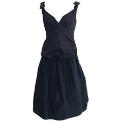 Louis Vuitton Black Bustier Tank and Skirt Set with Bow Detail at Shoulders