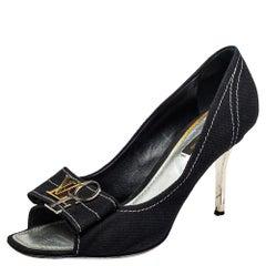Louis Vuitton Black Canvas Logo Open Toe Pumps Size 39