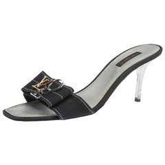 Louis Vuitton Black Canvas Love Bow Slide Sandals Size 38.5