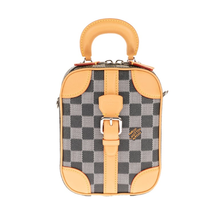 Brown Louis Vuitton Black checkered canvas vertical shoulder bag and natural calfskin For Sale