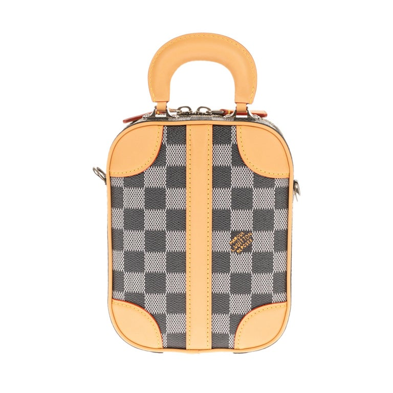 Louis Vuitton Black checkered canvas vertical shoulder bag and natural calfskin In New Condition For Sale In Paris, Paris