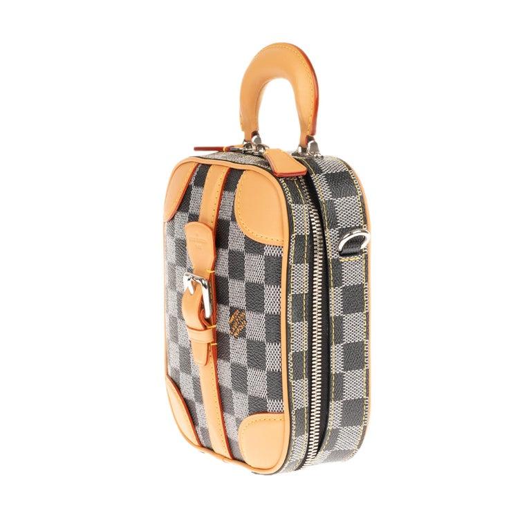 Women's or Men's Louis Vuitton Black checkered canvas vertical shoulder bag and natural calfskin For Sale