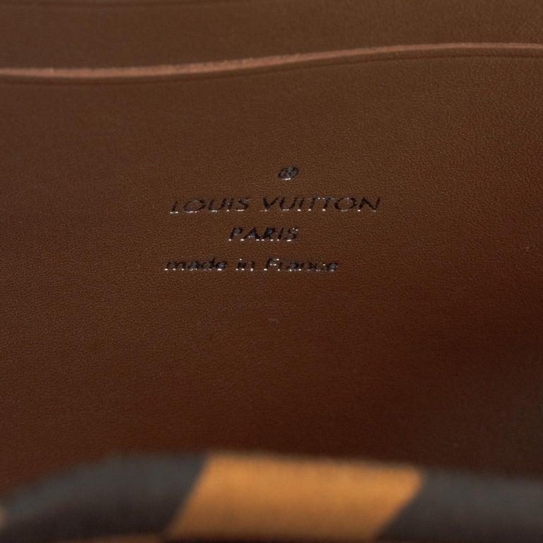 Louis Vuitton Black checkered canvas vertical shoulder bag and natural calfskin For Sale 2