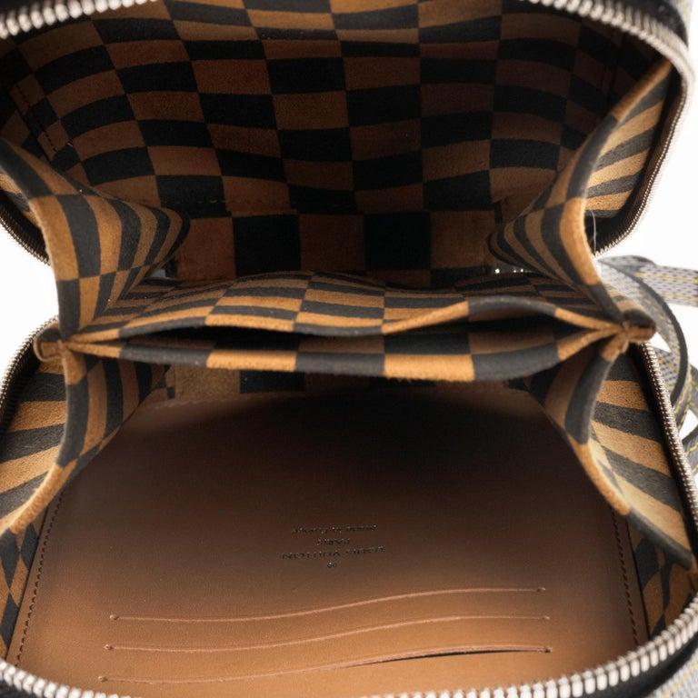 Louis Vuitton Black checkered canvas vertical shoulder bag and natural calfskin For Sale 3