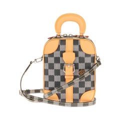 Louis Vuitton Black checkered canvas vertical shoulder bag and natural calfskin