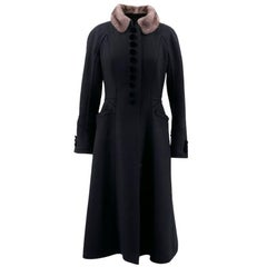 Louis Vuitton Black Coat with Grey Mink Collar - Size US 6