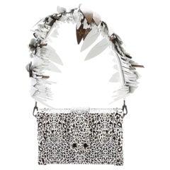 Louis Vuitton Black Cognac Raffia Crystal Snakeskin Top Satchel Shoulder Bag