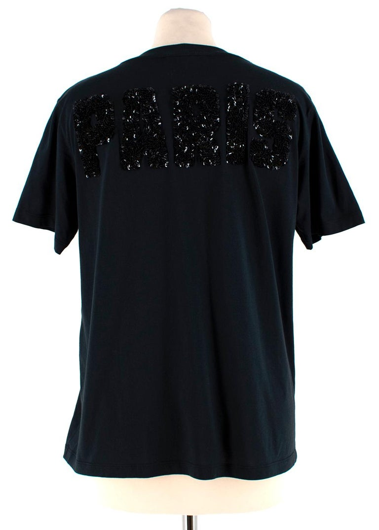 Louis Vuitton Black Cotton 'Paris' 14 Sequin Embellished T-shirt S In Excellent Condition For Sale In London, GB