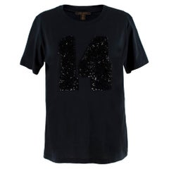 Louis Vuitton Black Cotton 'Paris' 14 Sequin Embellished T-shirt S