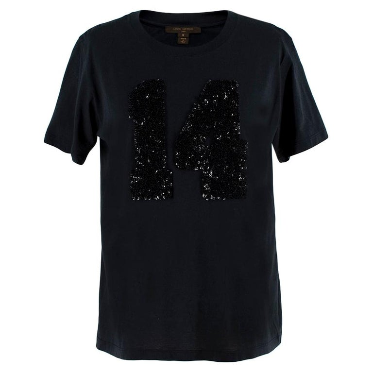 Louis Vuitton Black Cotton 'Paris' 14 Sequin Embellished T-shirt S For Sale