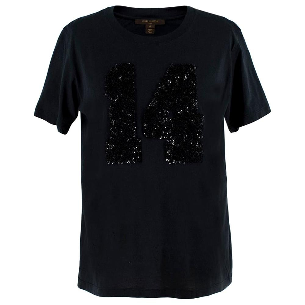 Louis Vuitton Black Cotton 'Paris' 14 Sequin Embellished T-shirt - Size Small
