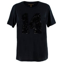 Louis Vuitton Black Cotton 'Paris' 14 Sequin Embellished T-shirt - Size Small