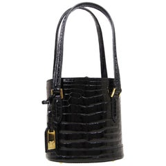 Louis Vuitton Black Crocodile Leather Exotic Top Handle Shoulder Small Mini Bag