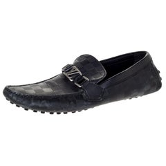 Louis Vuitton Black Damier Embossed Leather Hockenheim Loafer Size 42