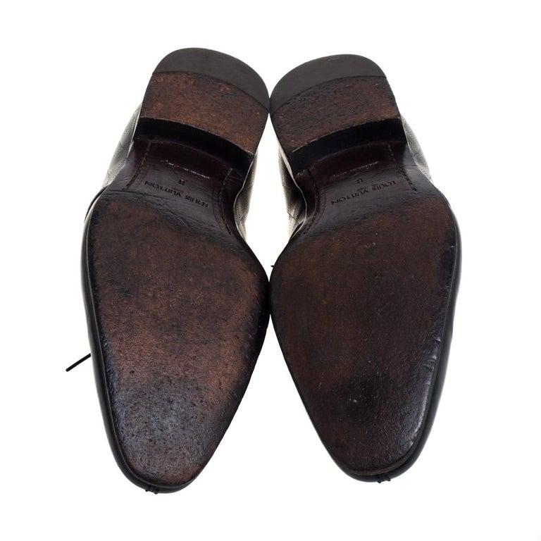 Men's Louis Vuitton Black Damier Embossed Leather Lace Up Oxfords Size 42 For Sale