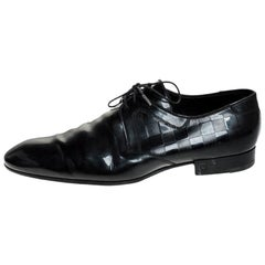 Louis Vuitton Black Damier Embossed Patent Leather Lace Up Derby Size 44