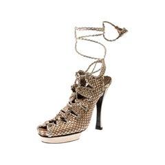 Louis Vuitton Black Damier Embosssed Leather Criss-Cross Flat Sandals Size 41.5