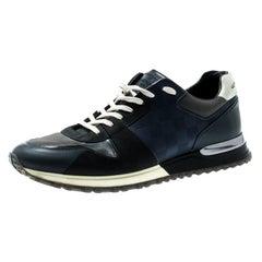 Louis Vuitton Black Damier Fabric Leather Trim Run Away Lace Sneakers Size 41.5