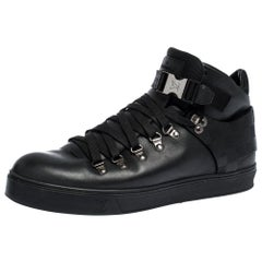 Louis Vuitton Black Damier Infini Leather Highland Sneakers Size 41.5