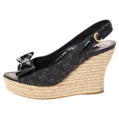 Louis Vuitton Black Denim Monogram and  Bow Espadrille Sandals Size 37.5