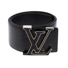 Louis Vuitton Black Electric Epi Leather LV Initiales Waist Belt 85 CM