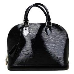 Louis Vuitton Black Electric Epi Patent Leather Alma PM Top Handle Bag