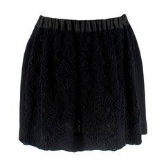 Louis Vuitton Black Embroidered Zip Up Mini Skirt 36 XS