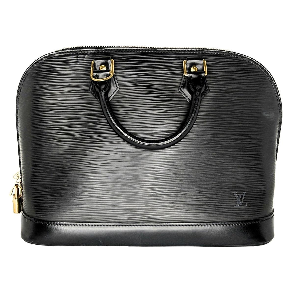 Louis Vuitton Black EPI Alma PM Handbag Satchel