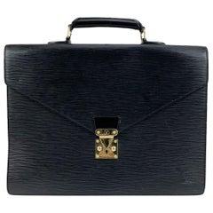 Louis Vuitton Black Epi Leather Ambassadeur Briefcase Business Bag