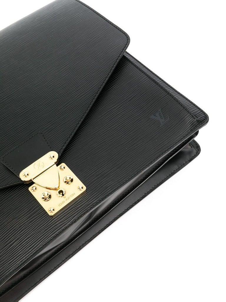 Louis Vuitton Black Epi Leather Big Size Senateur Briefcase In Good Condition For Sale In Paris, FR