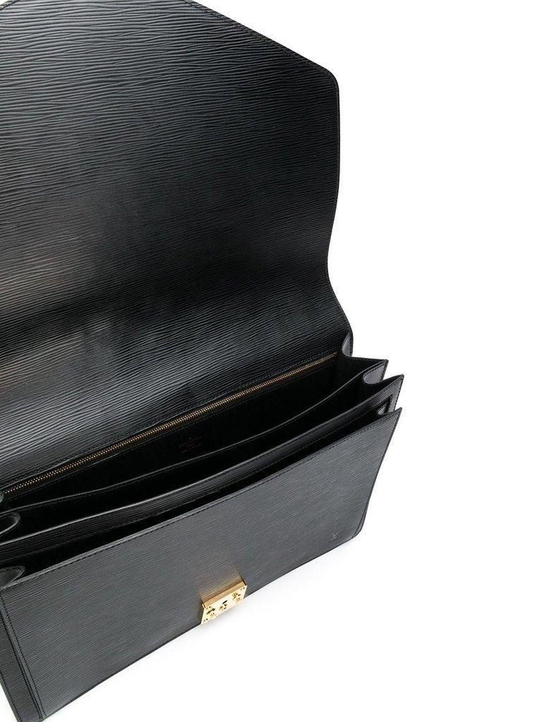 Men's Louis Vuitton Black Epi Leather Big Size Senateur Briefcase For Sale