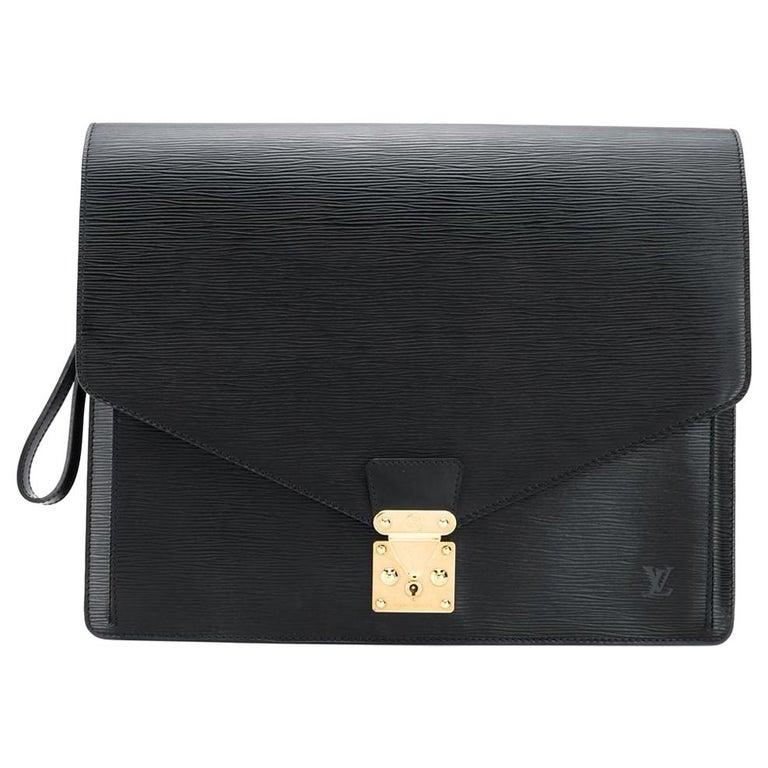 Louis Vuitton Black Epi Leather Big Size Senateur Briefcase For Sale