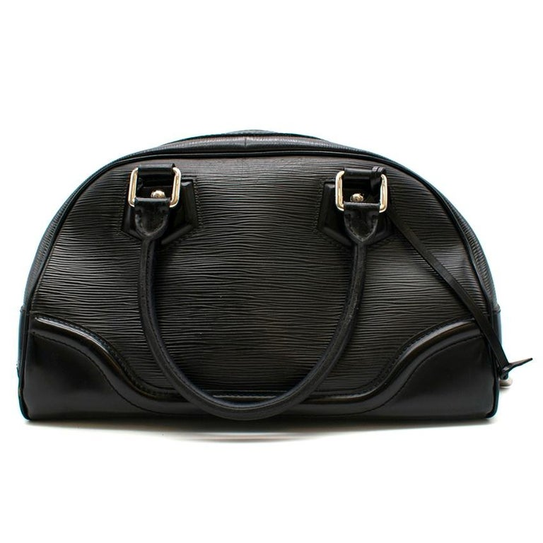 Louis Vuitton Black Epi Leather Bowling Montaigne Bag In Good Condition For Sale In London, GB