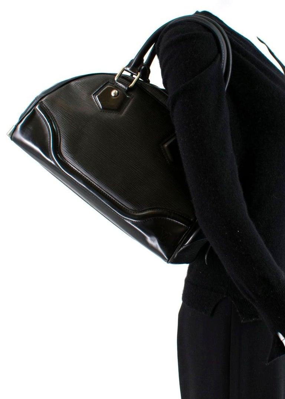 Women's or Men's Louis Vuitton Black Epi Leather Bowling Montaigne Bag For Sale