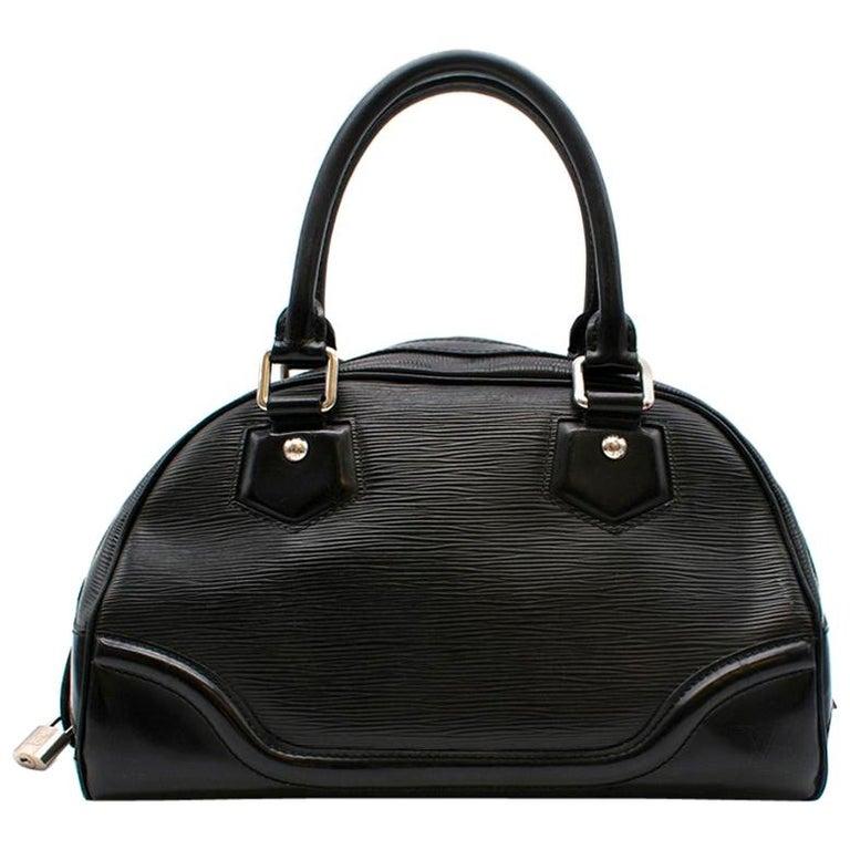 Louis Vuitton Black Epi Leather Bowling Montaigne Bag For Sale