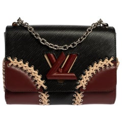 Louis Vuitton Black Epi Leather Braid Work Twist MM Bag
