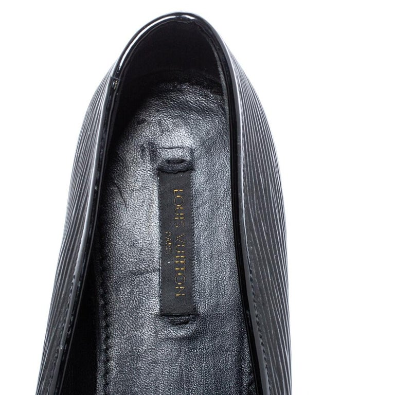 Louis Vuitton Black Epi Leather Debbie Bow Ballet Flats Size 38.5 For Sale 2
