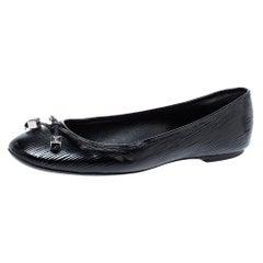 Louis Vuitton Black Epi Leather Debbie Bow Ballet Flats Size 38.5