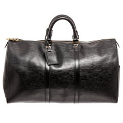 Louis Vuitton Black Epi Leather Keepall 50cm Duffel Bag