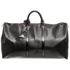 Louis Vuitton Black Epi Leather Keepall 55cm Duffel Bag
