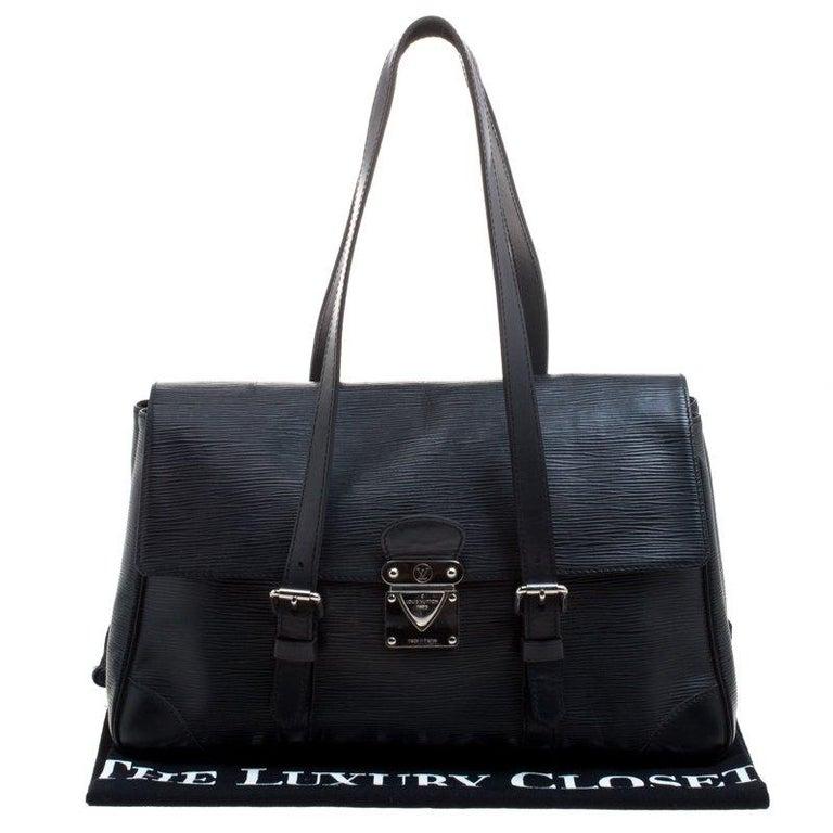 Louis Vuitton Black Epi Leather Segur MM Bag For Sale 10