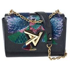 Louis Vuitton Black Epi Leather Sequin Bird Twist MM Bag